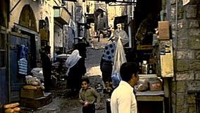 Aleias velhas da cidade do Jerusalém video estoque