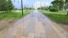 Aleja i most po deszczu zdjęcie wideo
