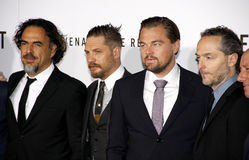 Alejandro Gonzalez Inarritu, Emmanuel Lubezki, Leonardo DiCaprio and Tom Hardy Royalty Free Stock Photo