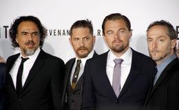 Alejandro Gonzalez Inarritu, Emmanuel Lubezki, Leonardo DiCaprio and Tom Hardy Royalty Free Stock Image