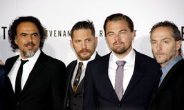 Alejandro Gonzalez Inarritu, Emmanuel Lubezki, Leonardo DiCaprio and Tom Hardy Stock Images
