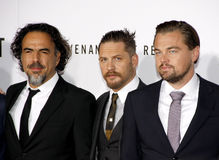 Alejandro Gonzalez Inarritu, Leonardo DiCaprio and Tom Hardy Royalty Free Stock Photos