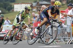 Alejandro Valverde and Alberto Contador Tour de France 2015 Stock Photo
