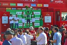 Alejandro Valverde Movistar Team On el podio Foto de archivo libre de regalías