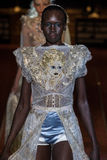 Alek Wek walks the runway during the Marc Jacobs show during Spring 2016 Royalty Free Stock Images