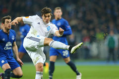 Aleksandar Dragovic shoots, UEFA Europa League Round of 16 second leg match between Dynamo and Everton Royalty Free Stock Photos