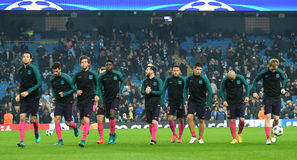 FC Barcelona team. Football players pictured prior to the UEFA Champions League Group C game between Manchester City and FC Barcelona on November 1, 2016 at Stock Image