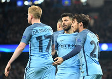 Kevin De Bruyne, Sergio Aguero and David Silva Royalty Free Stock Photos