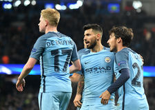 Kevin De Bruyne, Sergio Aguero and David Silva Stock Images
