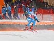Aleksander Khorosholv RUS, das in das parallele Slalom downh springt Stockbilder