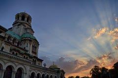 Aleksander Nevsky Cathedral no por do sol fotografia de stock royalty free