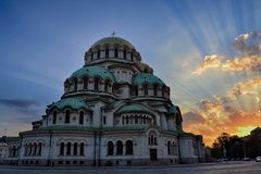 Aleksander Nevsky Cathedral no por do sol foto de stock royalty free