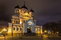 Aleksander Nevsky katedra nocą, ortodoksyjna katedra w Tallinn Starym miasteczku, Estonia Obrazy Royalty Free