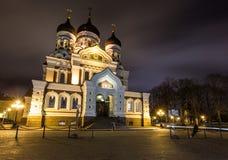 Aleksander Nevsky katedra nocą, ortodoksyjna katedra w Tallinn Starym miasteczku, Estonia Obraz Royalty Free