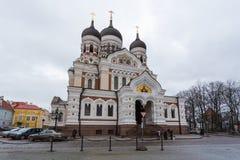 Aleksander Nevsky katedra, ortodoksyjna katedra w Tallinn Starym miasteczku, Estonia Zdjęcia Stock
