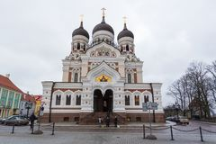 Aleksander Nevsky katedra, ortodoksyjna katedra w Tallinn Starym miasteczku, Estonia Zdjęcia Royalty Free