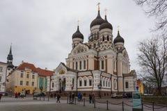 Aleksander Nevsky katedra, ortodoksyjna katedra w Tallinn Starym miasteczku, Estonia Obraz Royalty Free