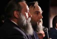 Aleksandr Dugin, Russian political analyst - press conference in royalty free stock photo