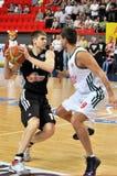 Aleksandr Lypovyy mit dem Ball Stockbild