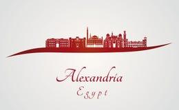 Aleksandria linia horyzontu w czerwieni Zdjęcie Stock