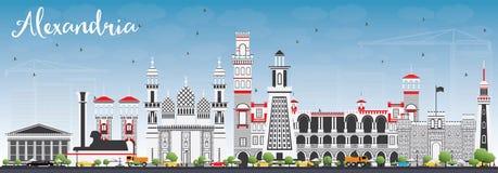 Aleksandria linia horyzontu z Szarymi budynkami i niebieskim niebem Fotografia Stock