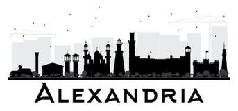 Aleksandria miasta linii horyzontu czarny i biały sylwetka Zdjęcia Stock