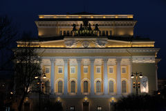 Aleksandrinsky theater at night Royalty Free Stock Photography