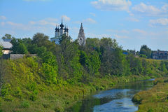 Aleksandrovsky monastery on river Kamenka in Suzdal, Russia Stock Photo
