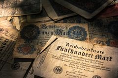 Alemán Mark Bills en el país Histo de Alemania de la moneda del vintage de la pila Imagenes de archivo