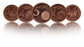 Alemão cinco, duas, moedas de uma Alemanha do euro- centavo fotografia de stock royalty free