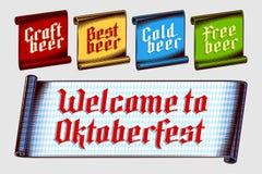 Alemão gótico Oktoberfest da letra de Inscripnion do vintage da etiqueta da etiqueta da fita Fotografia de Stock