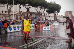 Alem Fikre Kifle, the finish line took second place Stock Photos