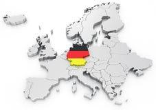 Alemanha em um euro- mapa Fotos de Stock Royalty Free
