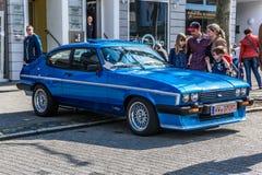 ALEMANHA, LIMBURGO - EM ABRIL DE 2017: FORD azul CAPRI MK III 1978 em Limburgo um der Lahn, Hesse, Alemanha foto de stock royalty free