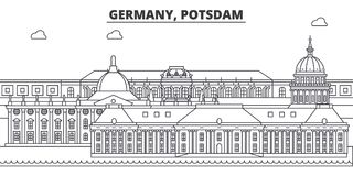 Alemanha, linha ilustração de Postdam do vetor da skyline Alemanha, arquitetura da cidade linear com marcos famosos, vistas de Po ilustração stock