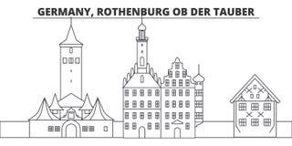 Alemanha, linha ilustração de Rothenburg Ob Der Tauber do vetor da skyline Alemanha, arquitetura da cidade linear de Rothenburg O ilustração stock