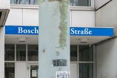 Alemanha, Munich, o 25 de março de 2017, entrada com a rua de Boschetsrieder do nome da rua Imagens de Stock Royalty Free