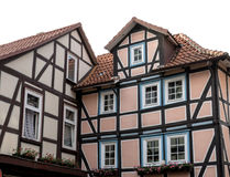 alemania Casas en el estilo del fachwerk en Hunnover Munden Fotografía de archivo