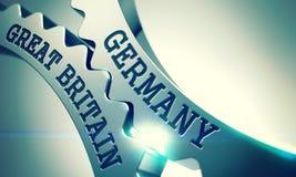 Alemania Gran Bretaña - mensaje en el mecanismo del metal brillante Fotos de archivo