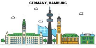 Alemania, Hamburgo Arquitectura del horizonte de la ciudad editable Imágenes de archivo libres de regalías