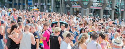 Alemania, Hamburgo - 4 de agosto de 2018: Día de la calle de Christopher Desfile del amor en Hamburgo imágenes de archivo libres de regalías