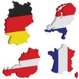 Alemania, holandés, Francia, Austria Imágenes de archivo libres de regalías