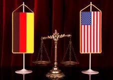 Alemania y justicia americana Foto de archivo