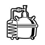 Alembic блока выгонки спирта бондаря иллюстрация вектора