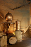 Alembic. Old copper pot stills used for the distillation of grape juice to produce pisco Royalty Free Stock Photos