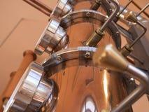 Copper alembic still. Alembic still for making alcohol inside distillery, destilling spirits royalty free stock photos