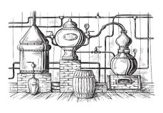 Alembic still for making alcohol inside distillery sketch. Alembic still for making alcohol inside distillery, destilling spirits sketch royalty free illustration