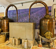 Alembics or stills in a perfume distillery. An alembic is an alchemical still consisting of two vessels connected by a tube, used for distilling chemicals. In royalty free stock photos