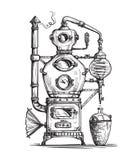 Alembik wciąż dla robić alkoholowi wśrodku destylarni nakreślenia royalty ilustracja