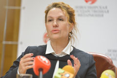 Alena Bolkvadze on the press conference Royalty Free Stock Image